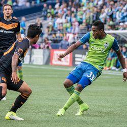 Sounders vs Houston Dynamo photos. Seattle won 1-nil behind Will Bruin's goal.