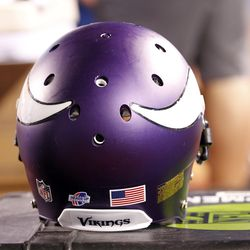 Aug 16, 2013; Orchard Park, NY, USA; A general view a Minnesota Vikings helmet during the second half against the Buffalo Bills at Ralph Wilson Stadium. Bills beat the Vikings 20-16.