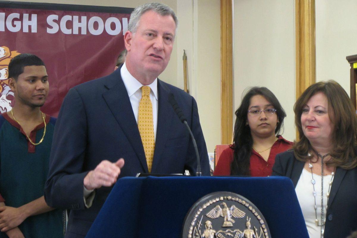 Mayor Bill de Blasio went to Richmond Hill High School in Queens to tout his school turnaround program.