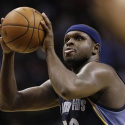 Memphis Grizzlies' Zach Randolph shoots a free throw during the second half in Game 2 of a Western Conference Finals NBA basketball playoff series against the San Antonio Spurs, Tuesday, May 21, 2013, in San Antonio.