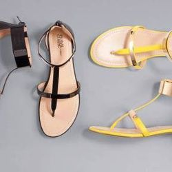 Flat sandals in black and blazing yellow, $29.99 each