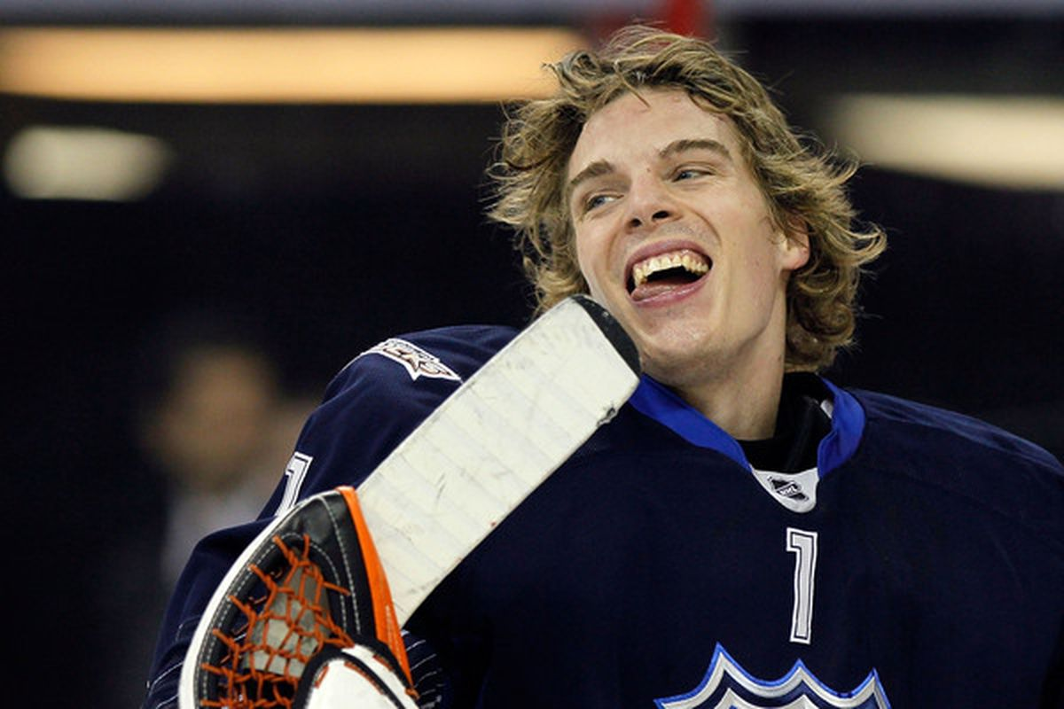 Jonas Hiller used to be a very happy guy.  Now he's just very, very sleepy.