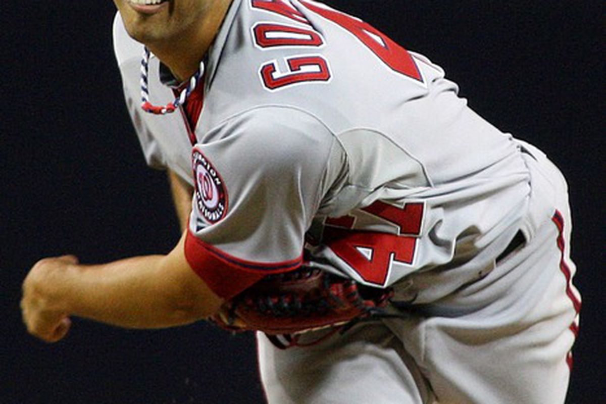 Apr 24, 2012; San Diego, CA, USA; Washington Nationals starting pitcher Gio Gonzalez (47) pitches during the fourth inning against the San Diego Padres at PETCO Park.  Mandatory Credit: Jake Roth-US PRESSWIRE