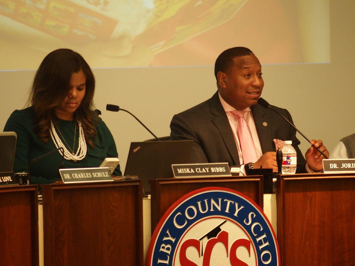 Shelby County Schools board chairwoman Miska Clay Bibbs, left, and Superintendent Joris Ray