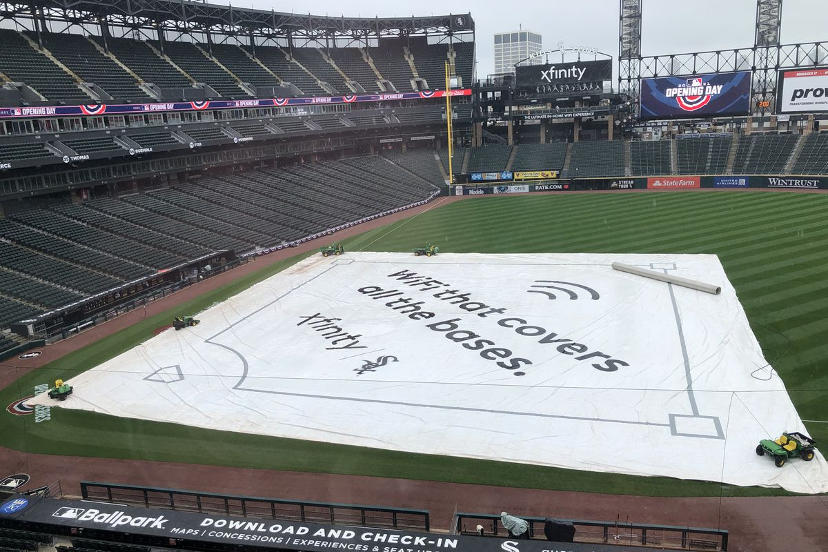 The infield at Guaranteed Rate Field is covered on Thursday before the White Sox home opener.