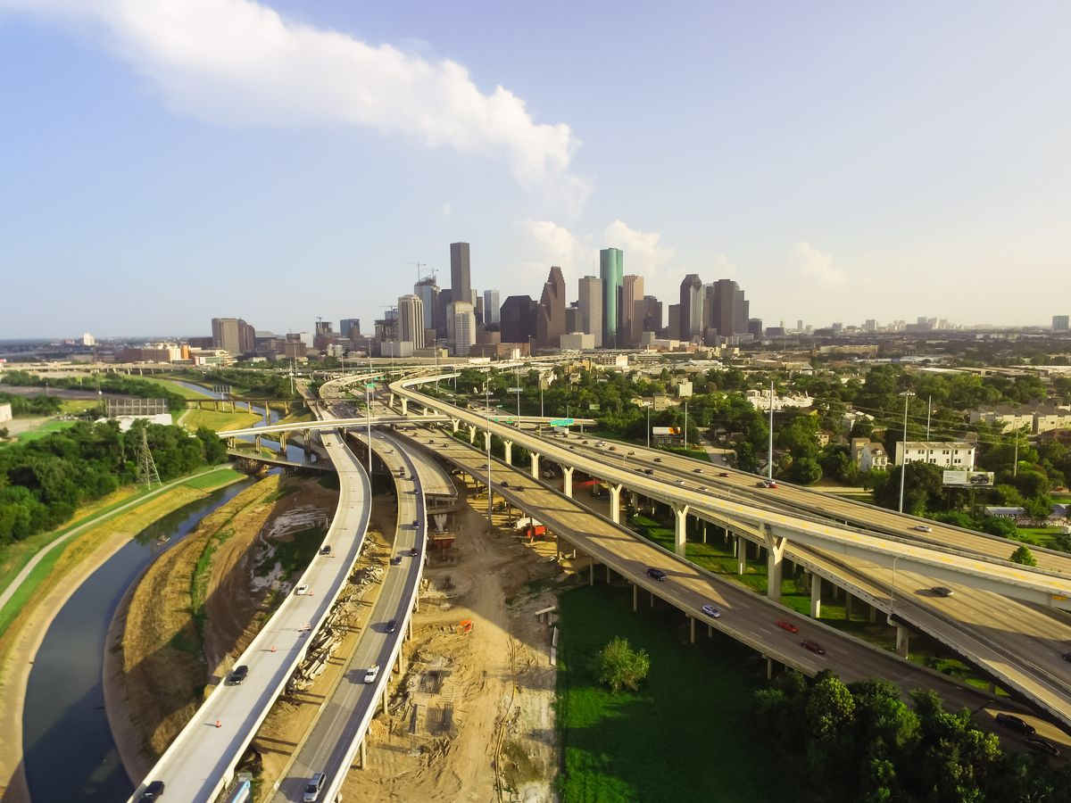 A ribbon of highways leading into downtown Houston.