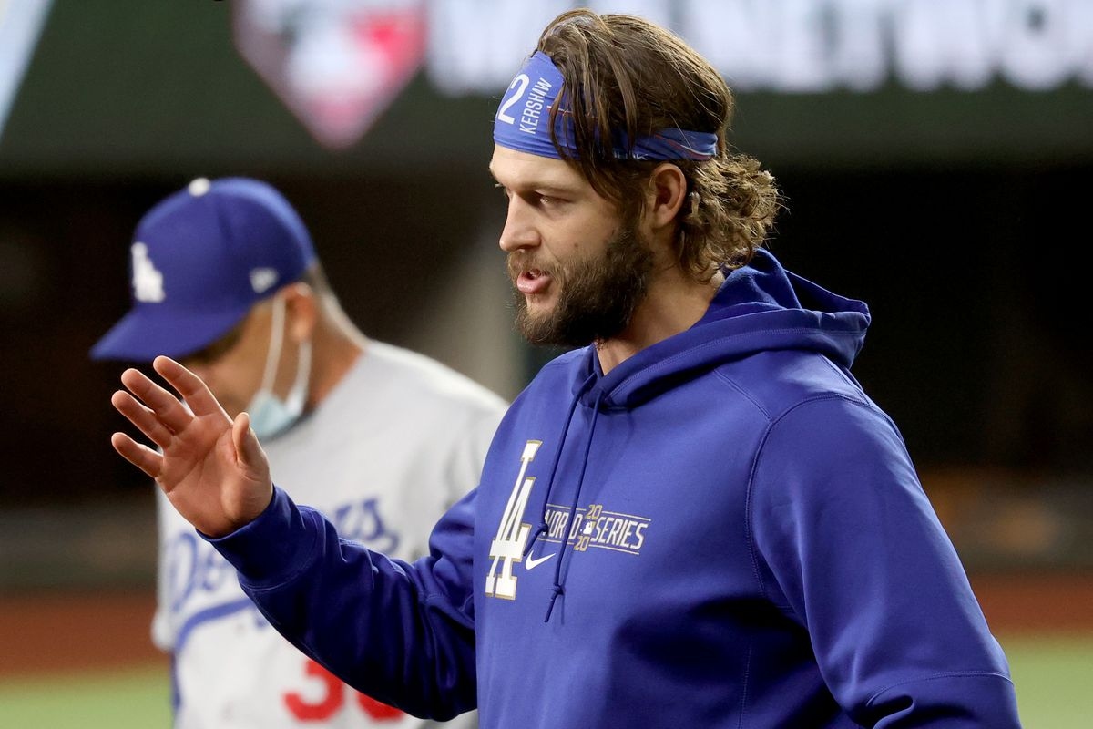 The Dodgers' Clayton Kershaw celebrates his team's 4-2 victory against the Rays in Game 5 of the World Series.