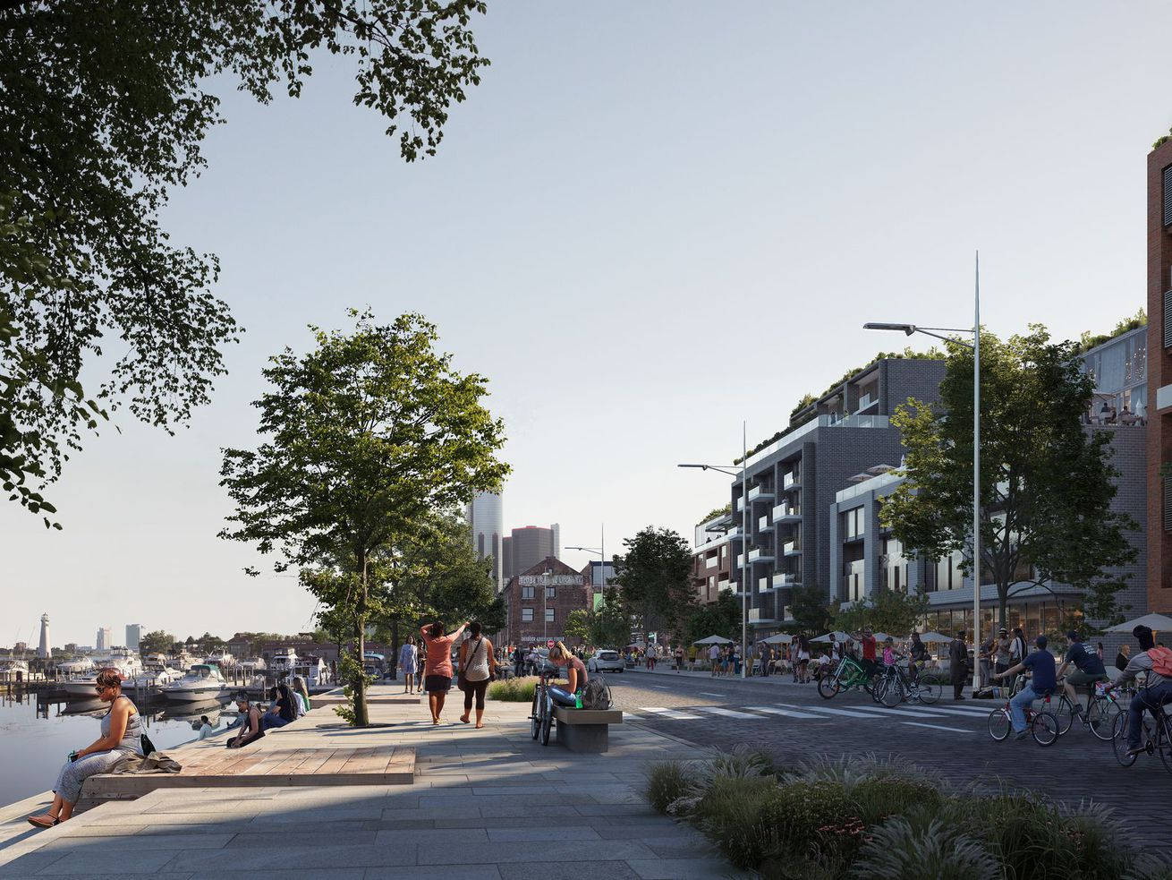 The future Atwater Street—public space on the water, development across the street
