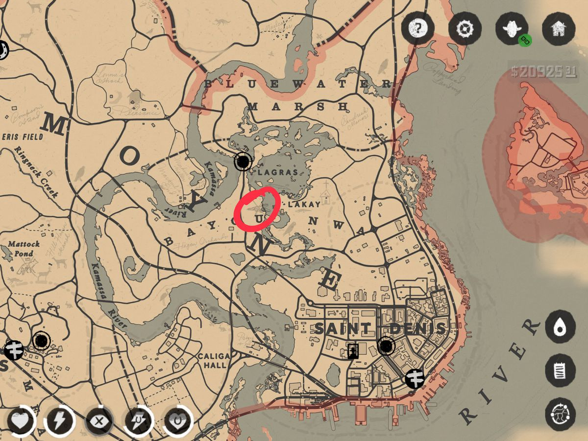 Red Dead Redemption 2 Legendary Bullgator map