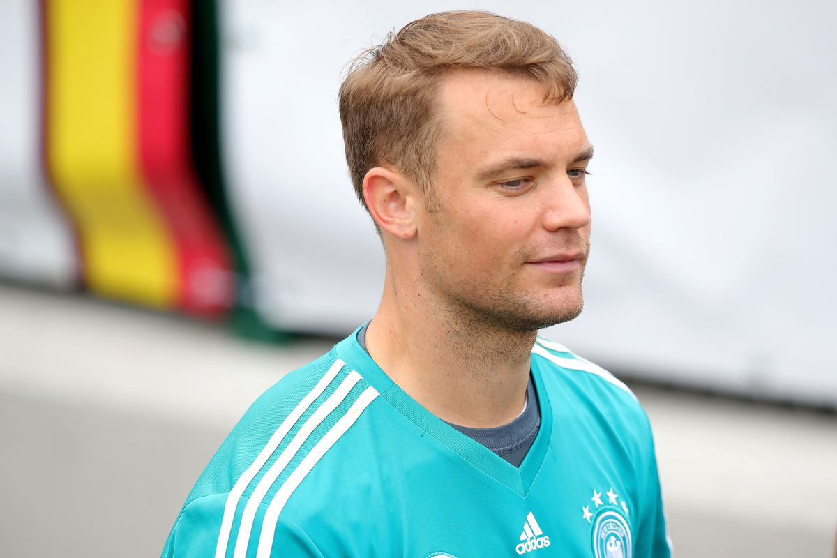 EPPAN, ITALY - MAY 29: Manuel Neuer looks on during a training session of  the German national team at Sportanlage Rungg on day seven of the Southern  Tyrol ...