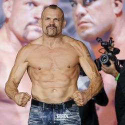 Chuck Liddell strikes a pose at the Liddell vs. Ortiz 3 ceremonial weigh-ins in Inglewood, Calif.