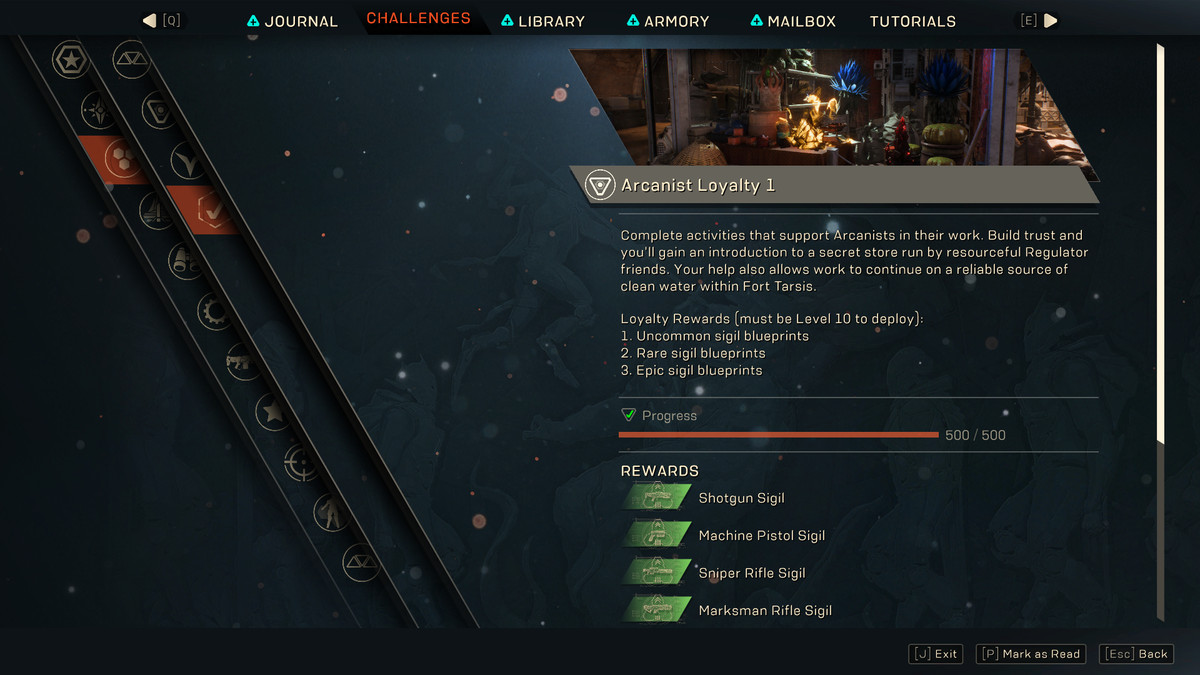 Arcanist faction loyalty and rewards screen in Anthem