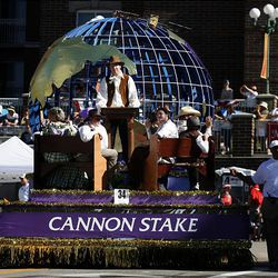 Salt Lake Cannon Stake's float wins the Sons of Utah Pioneers Award in the Days of '47 Parade in Salt Lake City on Saturday.