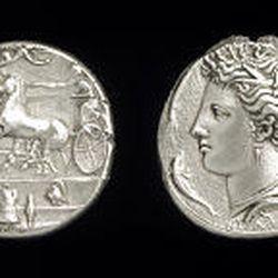 "Two dekadrachms,"" 413-387 B.C. (silver, 1 1/2 inches), Italy."