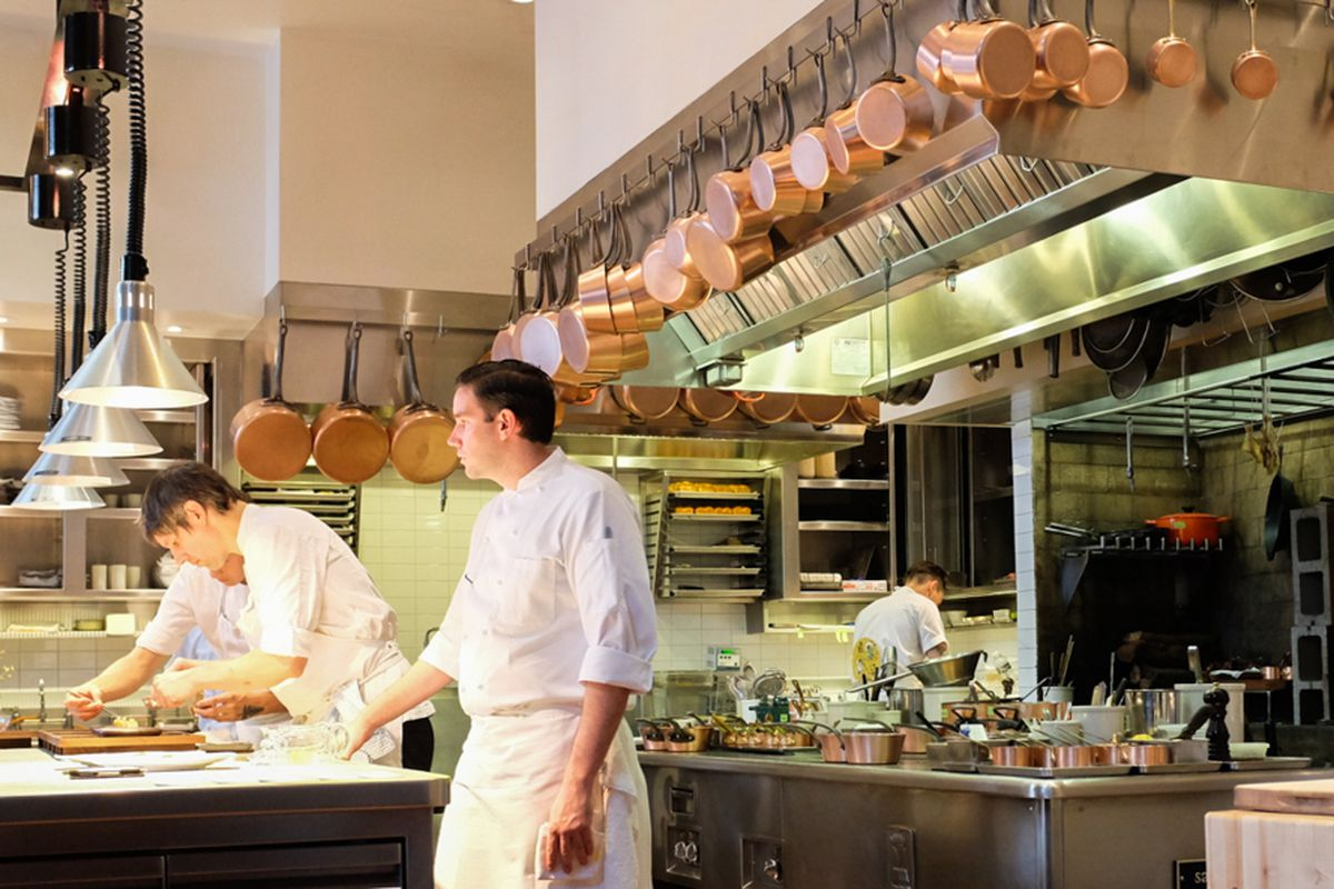 Executive sous chef Mitch Lienhard in the kitchen at Saison