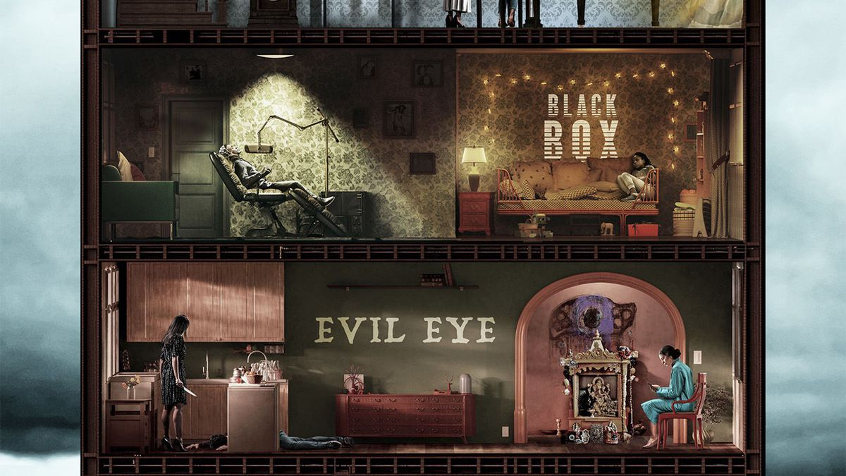 Welcome to the Blumhouse poster art, featuring images from four films arranged like four stories in a house