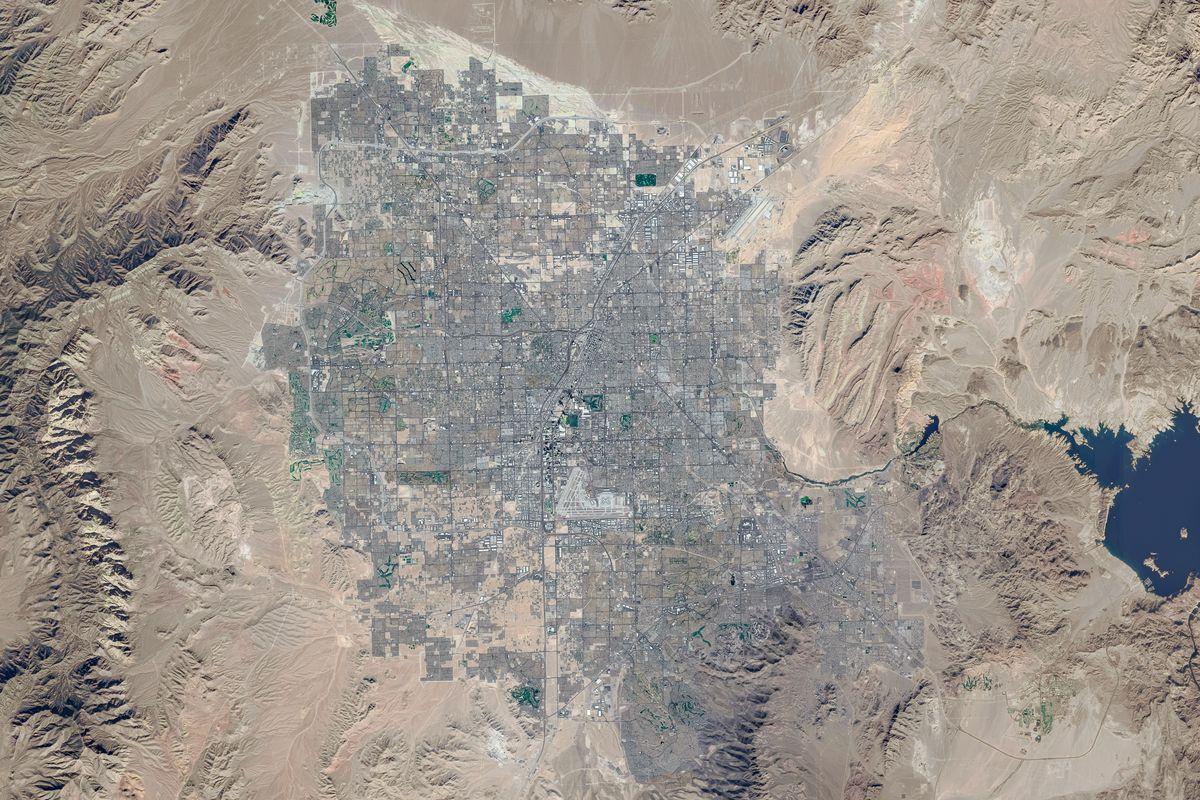 LAS VEGAS, NEVADA - NOVEMBER 2019: This is a composite satellite image (using multiple satellite images) of Las Vegas, Nevada.