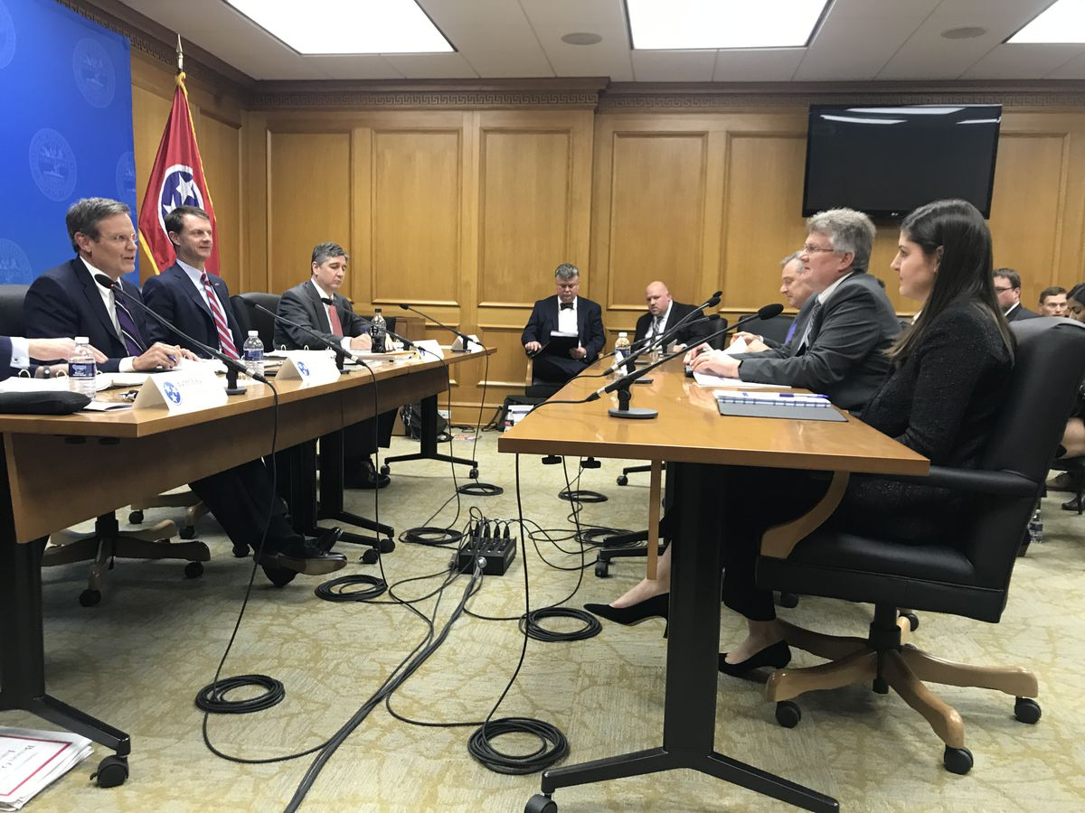 Lee listens to members of the state education department during the second day of budget hearings.