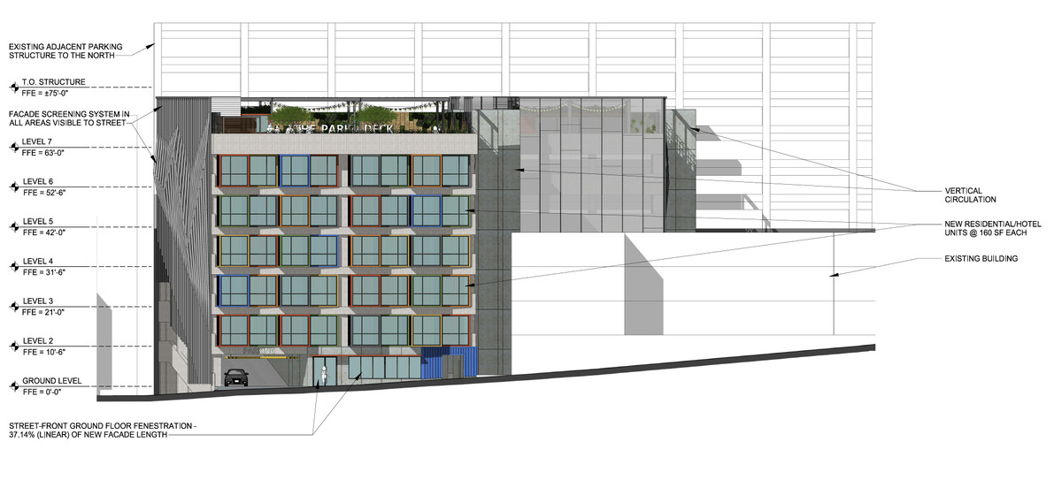 An architectural elevation shows how the building would sit next to the restaurants.