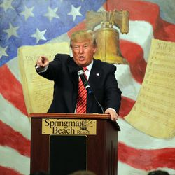 Republican presidential candidate Donald Trump speaks at the South Carolina Tea Party Convention in Myrtle Beach, S.C., Saturday, Jan. 16, 2016.