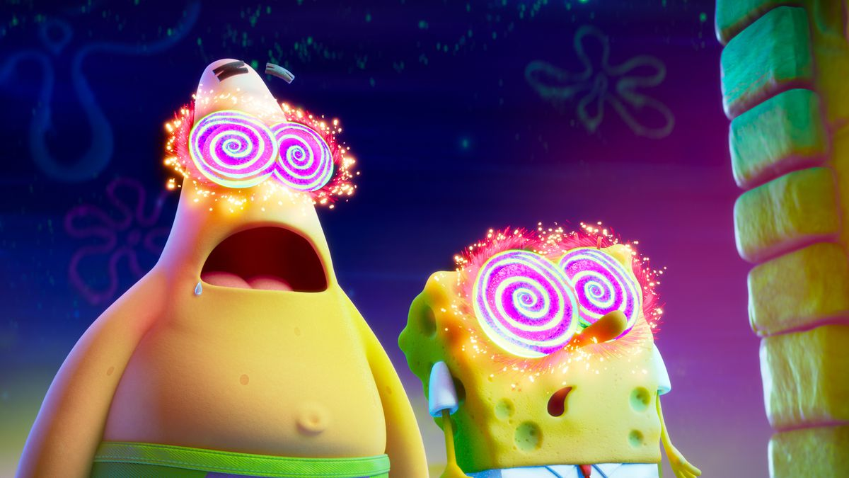 CGI Patrick Star and SpongeBob are hypnotized, with glowing, spinning eyes in THE SPONGEBOB MOVIE: SPONGE ON THE RUN.