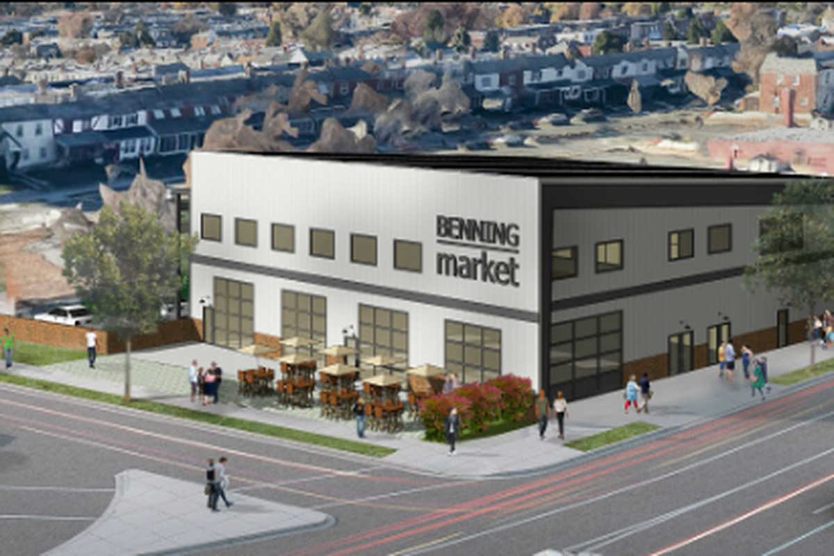 A rendering of the Market 7 space shows a large industrial building