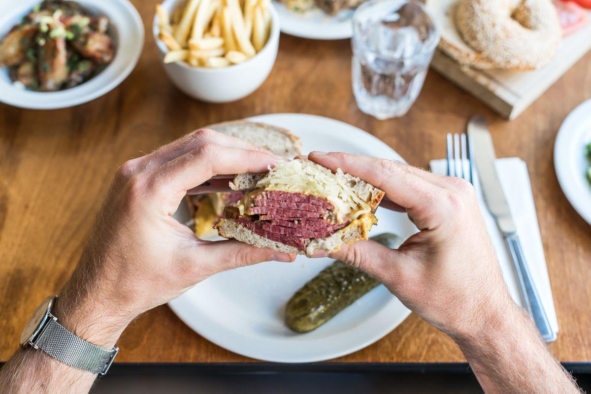 Salt beef sandwich by Monty's Deli at Market Halls Victoria, the new London restaurant food hall