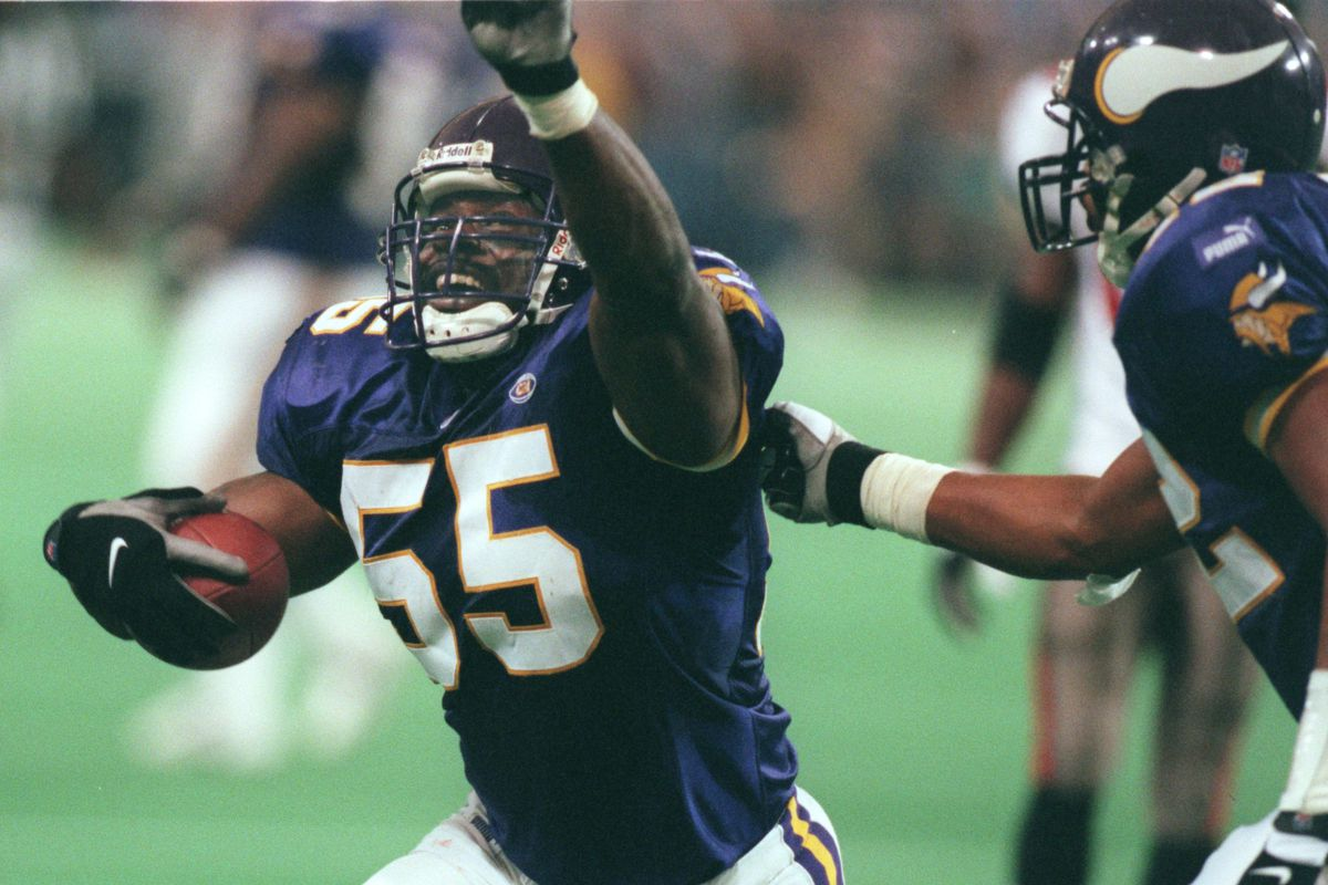 Oct. 3-Tampa Bay - Minnesota Vikings — Minneapolis Mn, Sunday 10/3/99 Vikings vs Tampa----Minnesota Vikings Corey Miller celebrates after intercepting a Trent Dilfer 4th quarter pass just before the 2 minute warning.