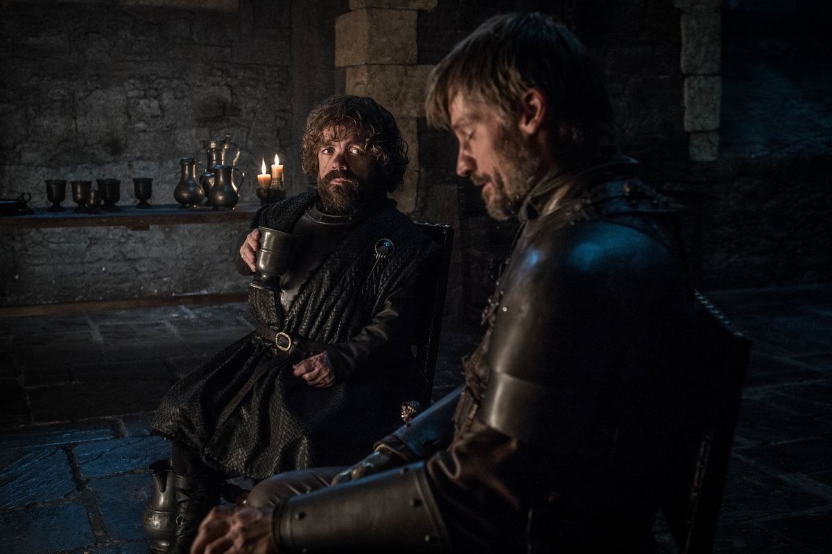 A still where Tyrion and Jaime drink to their health