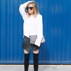 """Jacey of <a href=""""http://www.damselindior.com""""target=""""_blank"""">Damsel in Dior</a> is wearing a <a href=""""http://www.zara.com/us/en/new-collection/woman/skirts/faux-leather-skirt-c358006p1668300.html""""target=""""_blank"""">Zara</a> skirt, a <a href=""""http://paperden"""