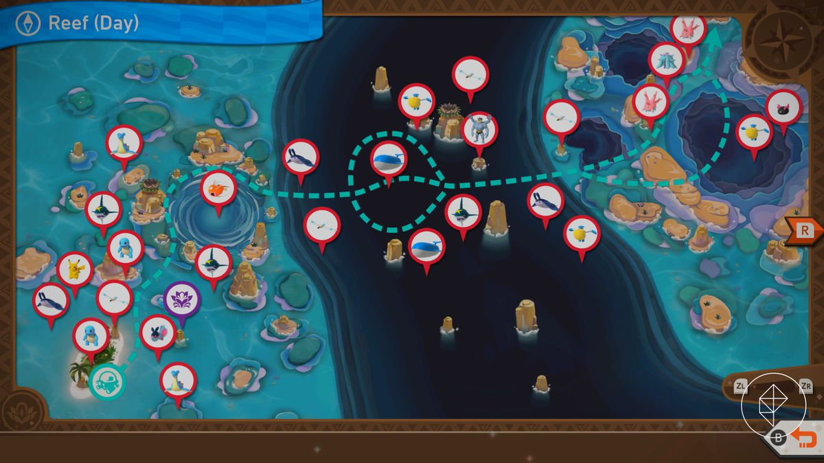 A map showing the different routes and Pokémon in Maricopia Reef during the day