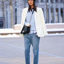 """Annabelle of <a href=""""http://vivaluxury.blogspot.com""""target=""""_blank"""">Viva Luxury</a> is wearing an <a href=""""http://www.equipmentfr.com/shop/sweaters/sloane-crew-periwinkle""""target=""""_blank"""">Equipment</a> shirt, a Cameo blazer and jeans, a BCBG hat, a Chanel"""