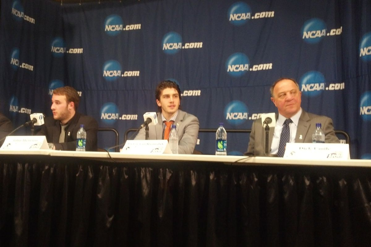 UNH players and head coach Dick Umile talk to the media following the NCAA Northeast Regional.