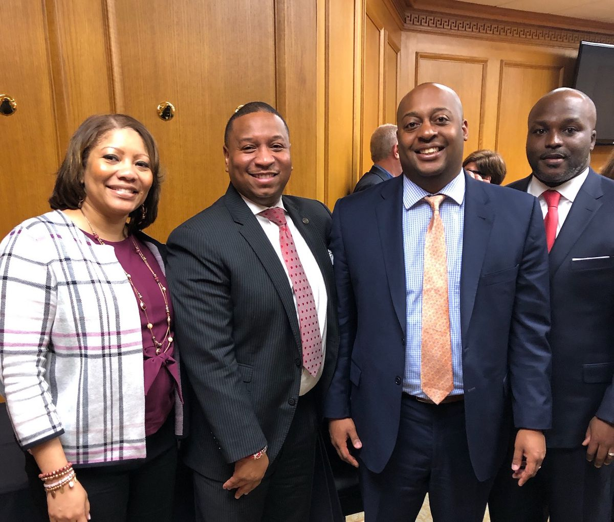 Superintendents or interim directors from four districts attended Tuesday's meeting with Gov. Bill Lee. From left: Adrienne Battle of Nashville, Joris Ray from Memphis, Eric Jones from Jackson, and Bryan Johnson of Chattanooga (Photo courtesy of Shelby County Schools)