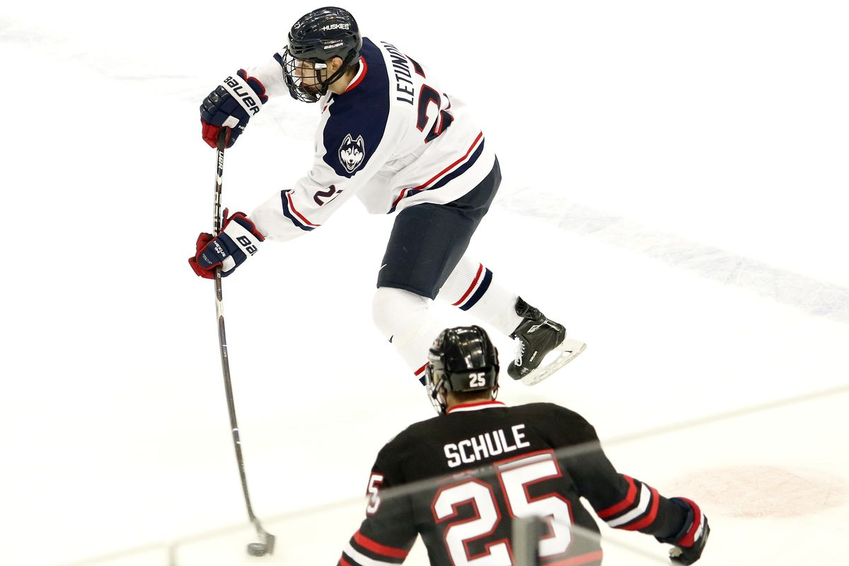 UConn's Maxim Letunov (27) during the Northeastern Huskies vs UConn Huskies men's college ice hockey game game at the XL Center in Hartford, CT  on November 28, 2017.