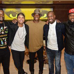 Malik Jackson, Kenny Anunike, DeMarcus Ware, Vernon Davis and Darius Kilgo at Andrea's. Photo: Karl Larson