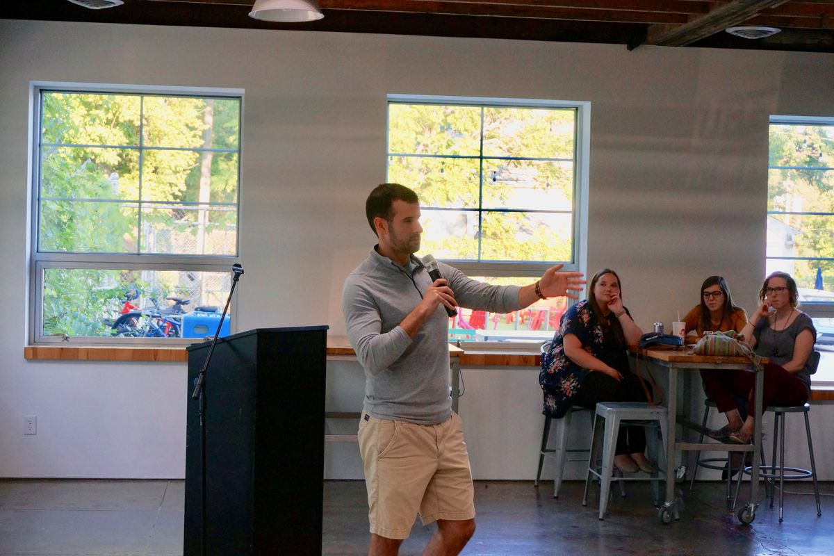 Chris Elliott, formerly a teacher at Howe High School, talks about his first year teaching at a recent story slam.