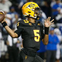 Arizona State quarterback Jayden Daniels (5) throws the ball during an NCAA college football game against BYU at LaVell Edwards Stadium in Provo on Saturday, Sept. 18, 2021.