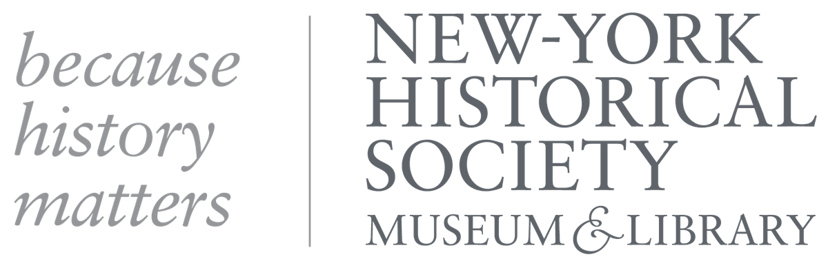 """New-York Historical Society Museum & Library logo with the text, """"because history matters"""""""