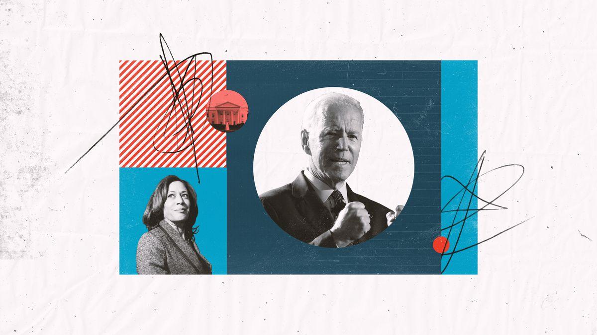 A collage featuring Kamala Harris and Joe Biden.