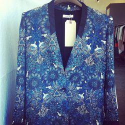 Blue mandala wet print jacket, $840