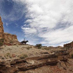 Bobby Lee Thompson rides along the skyline as he rides down the Little Grand Canyon of the San Rafael Swell  Saturday, April 2, 2011, in the San Rafael Swell in Central Utah.