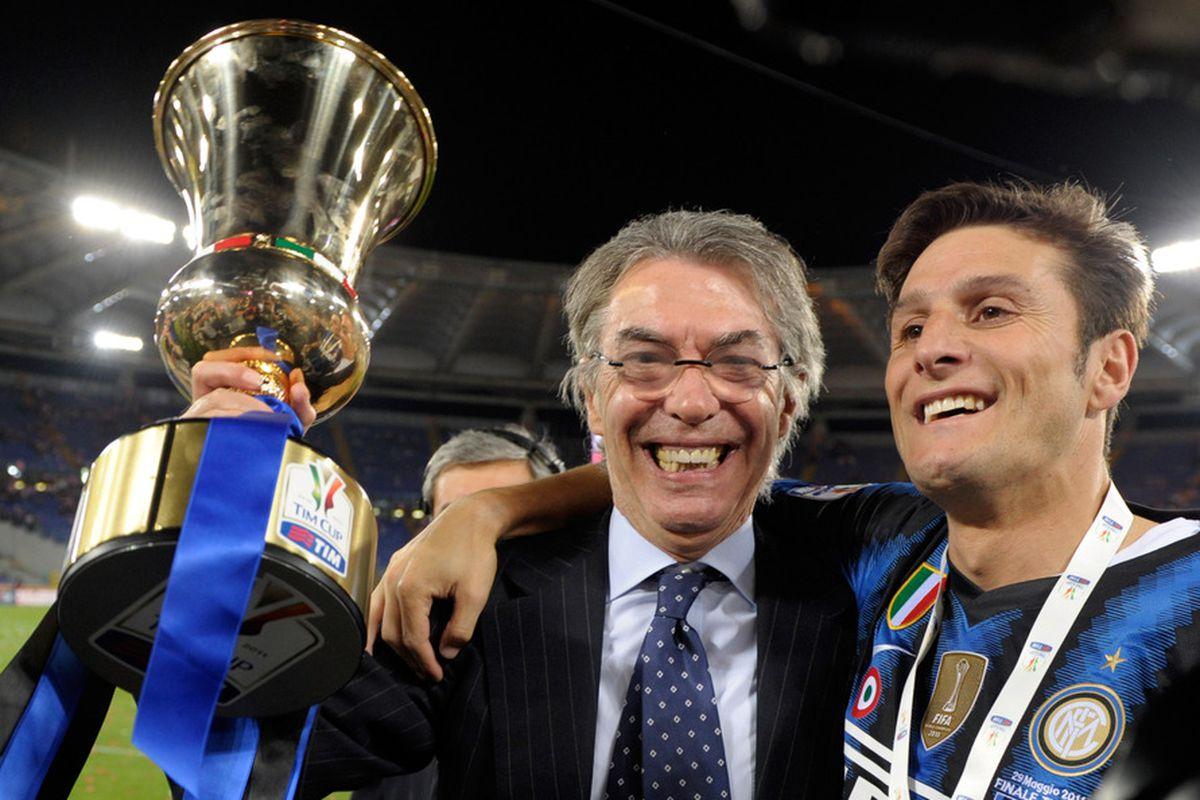 Massimo Moratti celebrates with Javier Zanetti