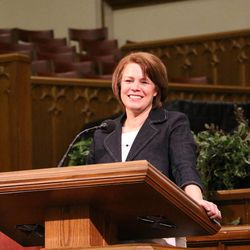 """Sharon Eubank, director of LDS Charities – the humanitarian arm of The Church of Jesus Christ of Latter-day Saints — speaks Thursday, May 14, 2015, during the """"Pioneers in Every Land"""" lecture, hosted by the LDS Church History Library and titled """"That They Might Not Suffer."""""""