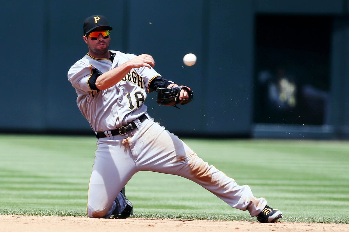 July 18, 2012; Denver, CO, USA; Pittsburgh Pirates second baseman Neil Walker (18) fields a ball during the first inning against the Colorado Rockies at Coors Field.  Mandatory Credit: Chris Humphreys-US PRESSWIRE