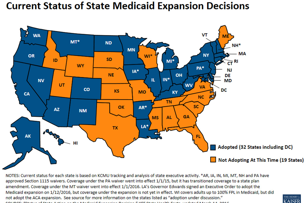 A map of the states that have and haven't done the Medicaid expansion.