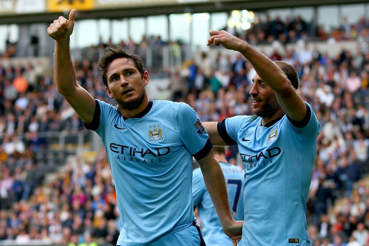 City legend, Frank Lampard, gives the travelling fans a thumbs up