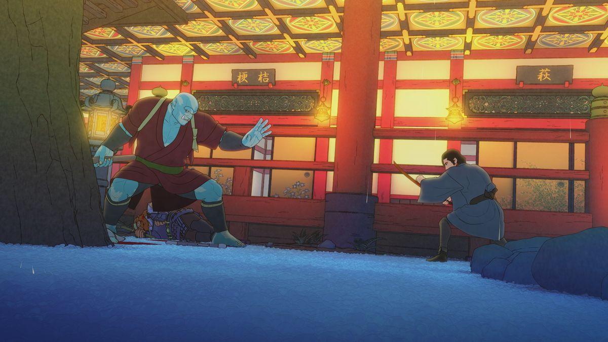 Human samurai Izou and orc warrior Raiden face off in battle in a brothel in Bright: Samurai Soul