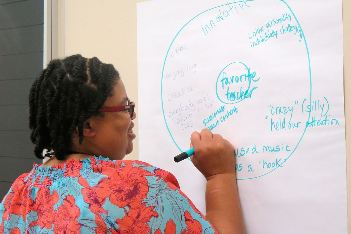 An elementary school teacher at one of Indianapolis Public Schools' priority schools describes the qualities of her favorite teacher during the 2014 Priority Schools Summer Institute.