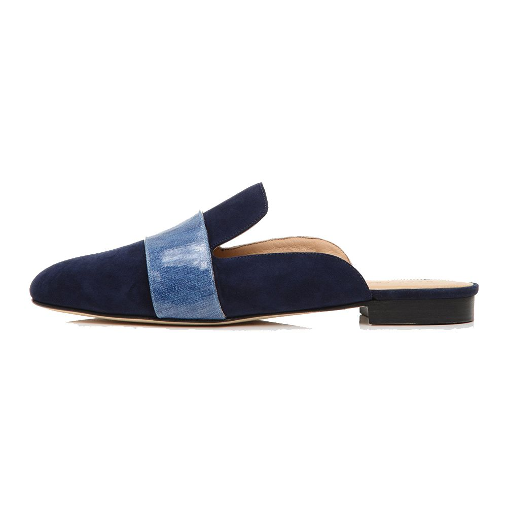 blue backless loafers with contrast strap